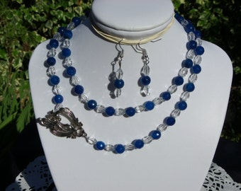 Saltire blue agate and white Crystal with a super clasp has put front