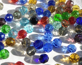 100 beads Crystal 8 mm with beautiful colours 47 way facets