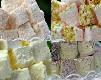 96 handmade marshmallow - choice of flavours - each approximately 1 inch square - ideal for weddings - birthdays - anniversaries.