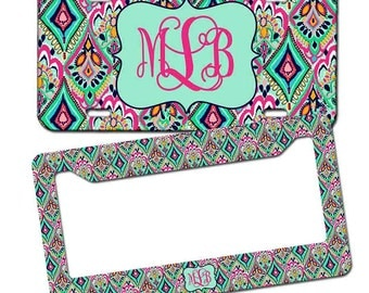 Monogrammed License plate - Lilly Pulitzer Inspired , Personalized Monogrammed License Plate Car Tag , Monogram License Frame
