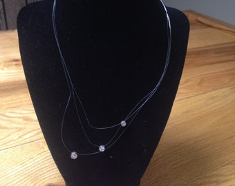 Vintage 925 Sterling Silver Clasp and White Gemstone Necklace, Length 17.5''