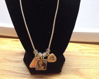 Vintage Disney Pocohontas Plastic Beaded Strand Necklace, Length 23''