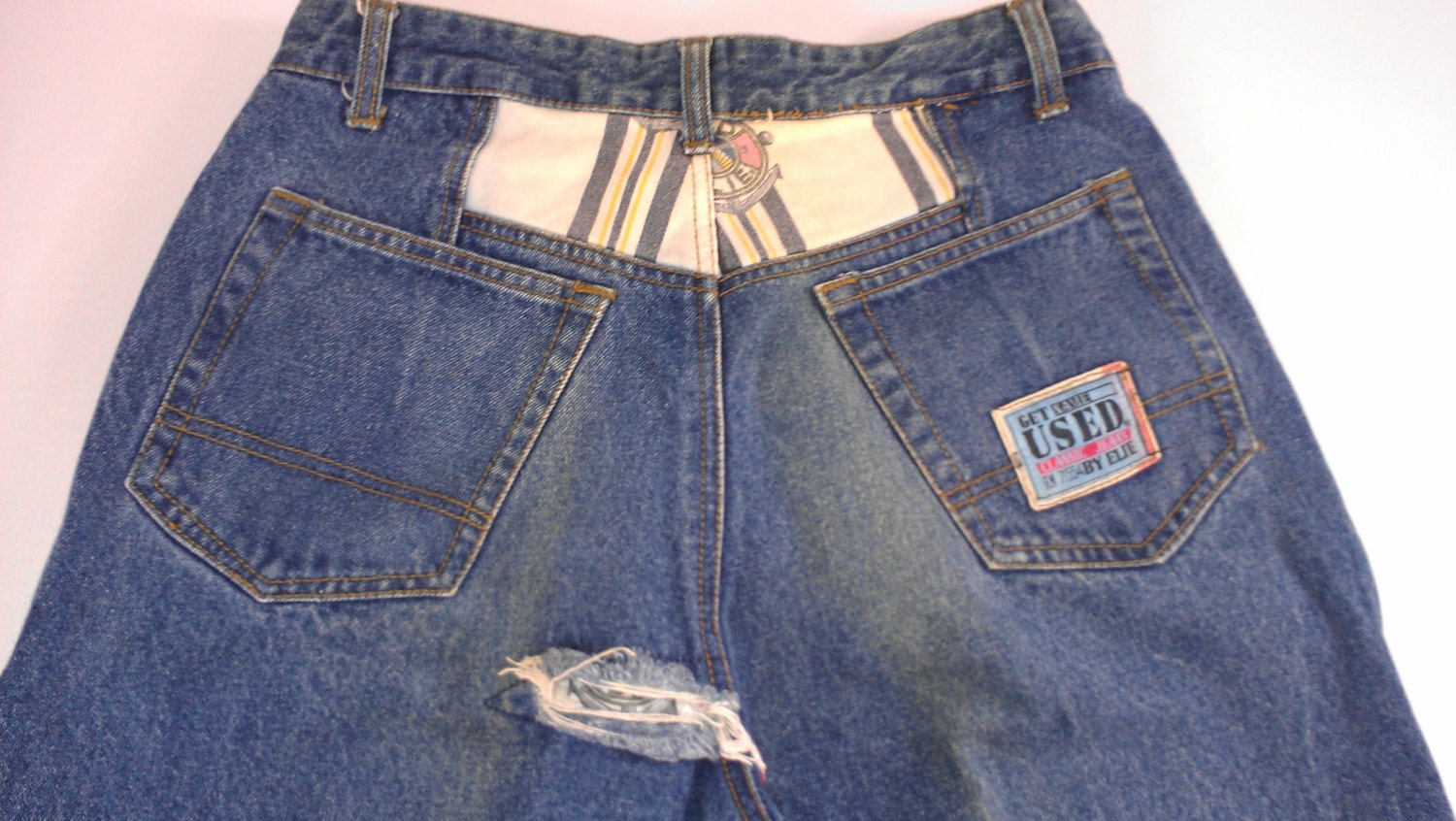 Get Used by Elie Jeans Mens 32 Patchwork 90s Classic 31 x