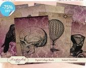 75 % OFF vente numériques cartes - Grunge. Digital Collage feuille Grunge ATC cartes C057 imprimable Télécharger tag image numérique papier craft cardmaking