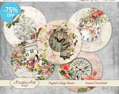 75% OFF SALE Digital collage sheet Clock in flowers 2 - printable digital collage 1 inch 25 mm digital image C055 atc card flowers cards