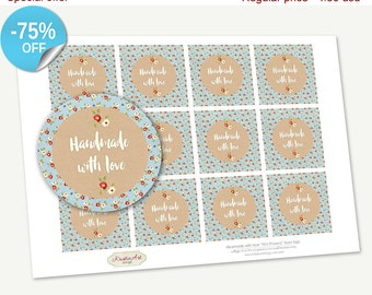 """75% OFF SALE Favor Tags Printable """"Handmade with love"""" Mini Flowers, Printable Handmade, Cupcake Toppers, Printable Supplie, Stickers"""