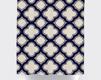 navy, tan cream geometric shower curtain, high quality fabric shower curtain, navy blue quatrefoil