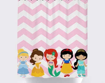 Princess Shower Curtain, Customized Characters, High Quality Fabric Shower  Curtain, Pink And White