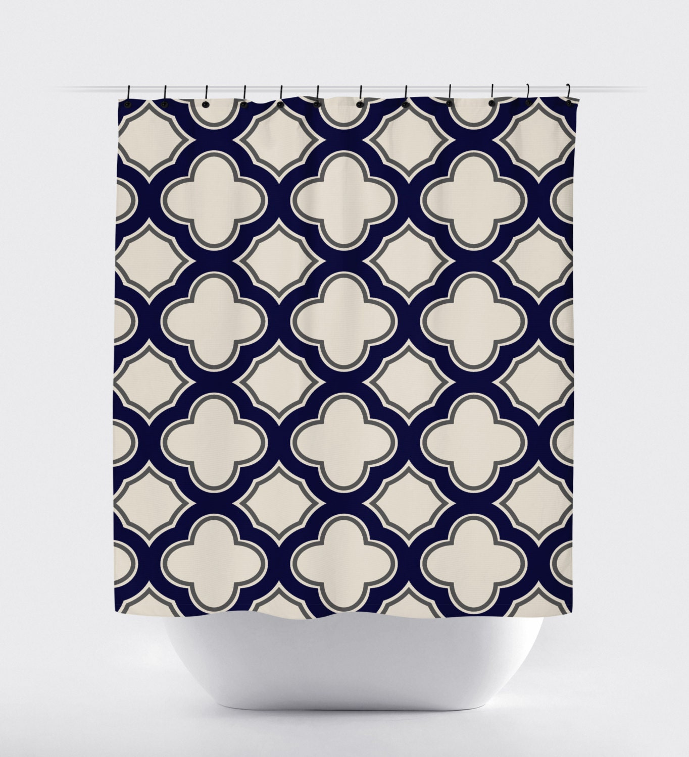 navy tan cream geometric shower curtain high quality fabric
