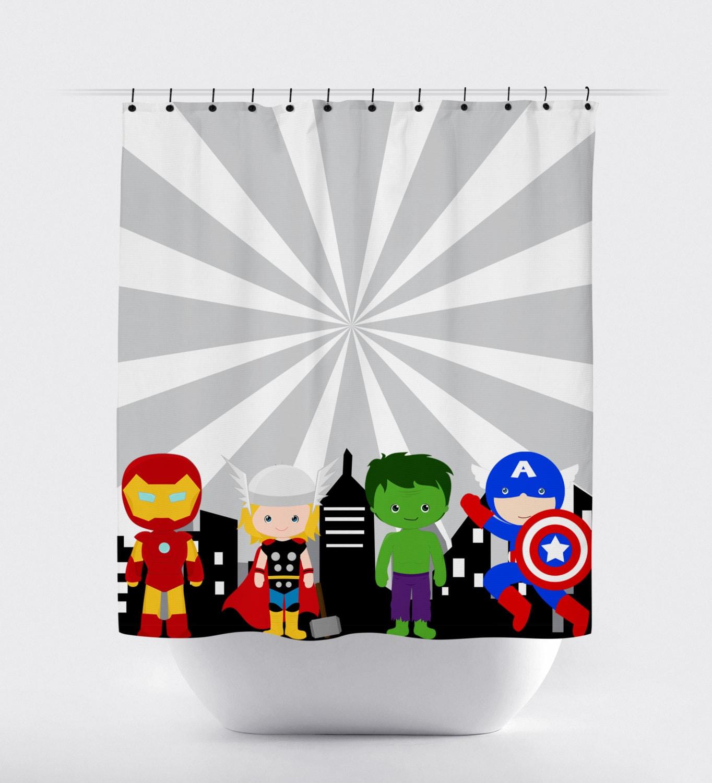 Superman Bathroom Decor: Superhero Shower Curtain Super Hero Shower Curtain Avengers