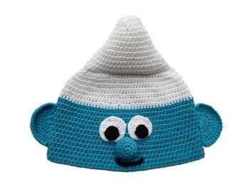 Crochet Smurf Toddler Boy Hat, Baby Boy Hat, Kids Smurf Hat, Child Smurf Hat, Halloween Smurf Hat, Funny Hat, 12 months - 2T, blue baby hat