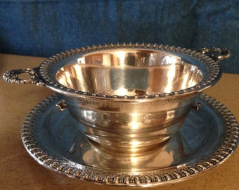Vintage Wilcox Silverplate Sauce Bowl and Tray