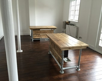 Reclaimed Scaffold plank urban industrial desk and drawers 5ft x 2ft 6 inches