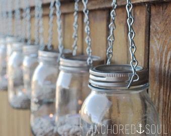 DIY Mason Jar Lantern Light Hangers - Set of 6 - Silver Chain - Regular Mouth Mason Jar Style