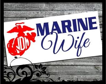 Personalized Marine Wife decal - Circle Script Initals; vinyl decals