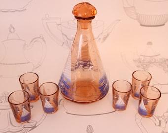Vintage Glass Decanter Set