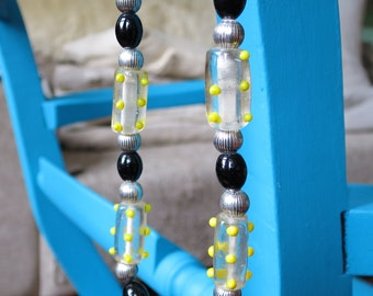 Quirky, Playful Black and Yellow Dotty Lampwork Necklace Made By Me