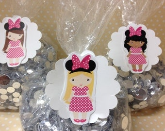 Minnie Mouse Party Favor Bags with Tags