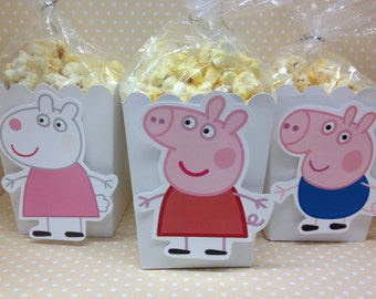 Peppa Pig, Family and Friends Party Popcorn or Favor Boxes - Set of 10