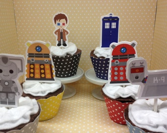 Dr Who Party Cupcake Topper Decorations - Set of 10