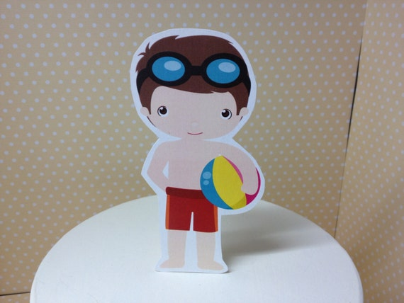 Boys Swim Pool Party Cake Topper Decoration By Partybydrake