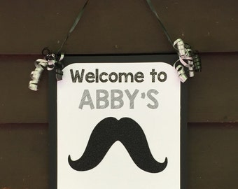 Personalized Mustache Baby Shower Welcome Sign, Mustache Door Sign, Candy Table Sign, Mustache Baby Shower Decoration