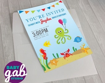 Ocean Animals Birthday Invite, Custom Kids Birthday Invitations, Octopus, Crab, Fish & Seahorse
