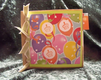 Birthday Scrapbook with Cupcakes & Balloons