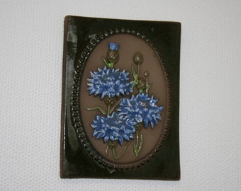 JIE Gantofta Ceramic  Vintage Swedish Plaque  Scandinavian Wall Hanging Design by Aimo Cornflowers Decorative Tile