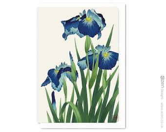 Blue iris: Greeting card FLW016