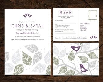 Personalised Wedding Stationery / Invitation / RSVP / DIY Editable and Printable