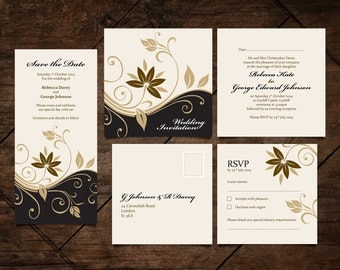 Personalised Wedding Stationery Set / Save the Date / Invite / RSVP / DIY Editable and Printable