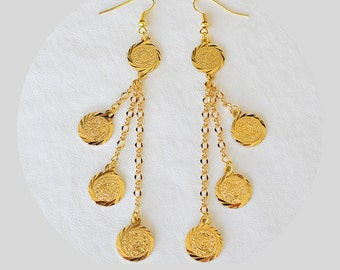 Middle East Coin Earrings Arabic Jewelry 24k Gold Plated Drop Dangle Earrings - Gift For Mom