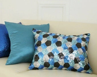 """Blue Multicolored Sequins Rectangle Oblong Pillow Throw Cushion  19"""" X 13"""""""