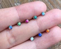 1.2mm/16g-fire opal Barbells-Ball Size 3mm-Tragus/Cartilage Piercing Stud Earring-Body jewellery