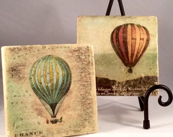 Montgolfier Hot Air Balloon Coaster Set (Set includes 4 Tiles )