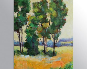 """Landscape Painting - Four Trees - Oil Painting Art on Canvas - 12x16"""" - Original Artwork - Oil Painting Framed"""