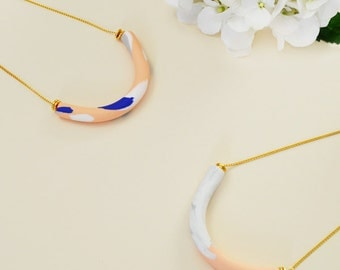 White and peach marbled curved bar necklace, modern polymer clay necklace, polymer clay, handmade