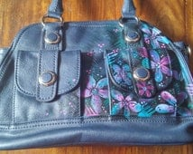 Gorgeous hand painted leather bag-upcycled- navy blue- flowers-ooak