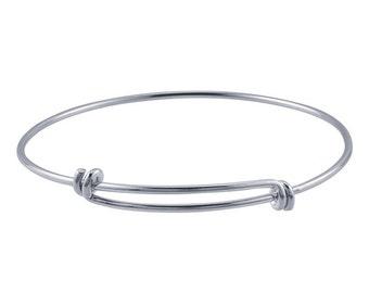 """Expandable/Adjustable Charm Bangle Bracelet 8 - 9.5"""" 1.65mm - Sterling Silver"""