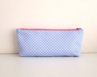 Pencil Case/ Cosmetic Purse/Zippered Pouch, Blue and Pink Floral Prints