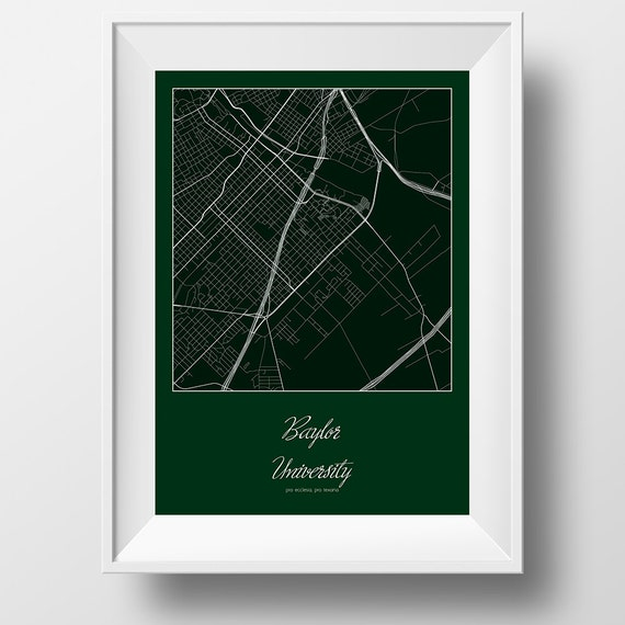 Baylor Street Art Wall: Baylor University Campus And Area Street Map In Waco By