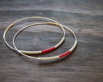 Red and White Beaded Hoops