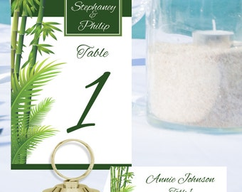 Bamboo Palm Table Number and Place Cards PLM-01-Digital Download