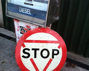 Vintage Metal Road Stop Sign