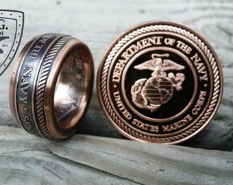United States Military Branch, 1oz Handcrafted .999 Pure Copper Coin Ring.