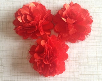 "Mini Satin and Tulle Puffs, 2"" Satin Mesh Flower, Red Satin Flower, Wholesale Flower, Boutique Supplies, DIY Headband"
