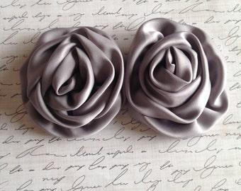 Set of 2 Grey Rolled Satin Rosette, Rosettes, Satin Rosettes, DIY headband, Boutique Supplies, Wholesale Rosette