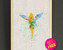 Tinker Bell Watercolor Art Print Disney Peter Pan Poster House Wear Wall Decor Gift Linen Fabric Print - Disney - Buy 2 Get 1 FREE - 100s2g