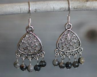 Handmade Black Agate and Antiqued Pewter Chandelier Earrings